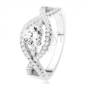 925 ezüst gyűrű, hullámos cirkóniás vonal, kerek, átlátszó kő