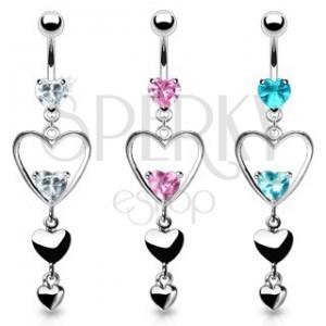 Acél piercing köldökbe, három szív ezüst színben, rózsaszín szivecskés cirkóniák