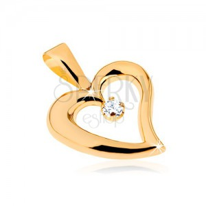 375 arany medál - fényes egyenetlen szív körvonal, átlátszó cirkónia középen