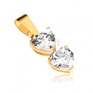 Medál 9K sárga aranyból - két átlátszó cirkóniás szív foglalatban