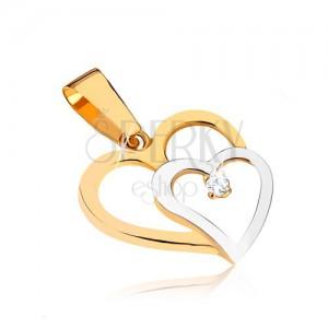 Kétszínű 375 arany medál - két szív körvonal, kerek átlátszó kő