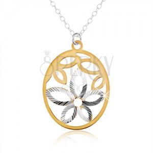 925 ezüst nyakék, ovális medál, virág kivágás, arany színű szirmok