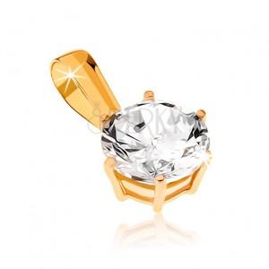 Medál 9K sárga aranyból - csillogó, csiszolt, kerek cirkónia