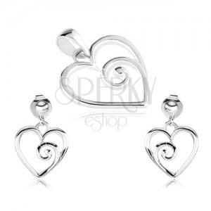 925 ezüst szett, medál és fülbevaló, szív kontúr spirállal