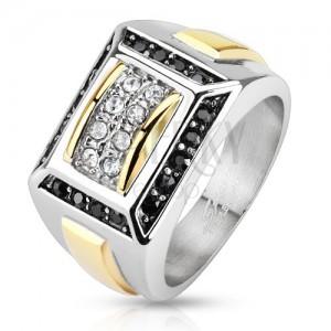Acél gyűrű ezüst és arany színben, fekete és átlátszó cirkóniák, téglalapok