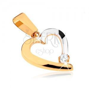 9K arany medál két színben - szabálytalan szív körvonal, tiszta kő