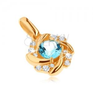 375 arany medál - napocska kék topázzal és tekert sugarakkal, cirkóniák