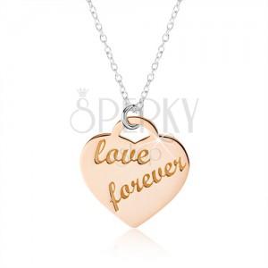 """Nyakék 925 ezüstből, szív réz színben, """"love forever"""" felirat"""