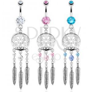 Acél köldökpiercing - álomfogó, színes gyöngyök és acél tollak