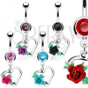 Acél köldökpiercing, szívkörvonal, kivirított rózsa levelekkel, cirkóniák