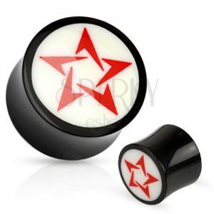 Kerek fekete-fehér fülplug természetes anyagból, piros csillag