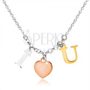 """925 ezüst nyakék, """"I LOVE U"""" felirat három színárnyalatban"""