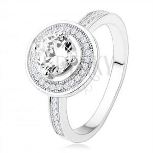 925 ezüst eljegyzési gyűrű, karika és díszített cirkóniás szárak, átlátszó kő