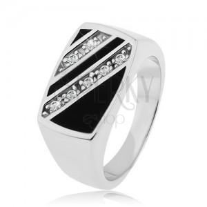 925 ezüst gyűrű, téglalap - ferde átlátszó cirkóniás vonal, fekete fénymáz