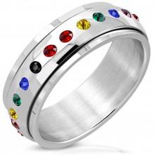 Fényes acél gyűrű - forgatható középső résszel, cirkóniák a szivárvány színeiben