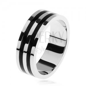 Fényes karikagyűrű 925 ezüstből, két fekete sáv