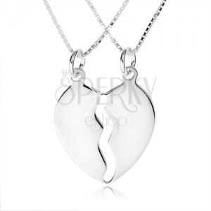 925 ezüst nyakék, két lánc, kettős medál, kettévált szív