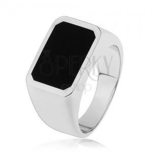 Gyűrű 925 ezüstből, sima és fényes felület, téglalap fekete fénymázzal