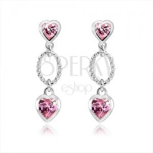 925 ezüst fülbevaló, két rózsaszín cirkóniás szív, díszített ovális