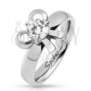Eljegyzési gyűrű acélból masnival és kerek kővel