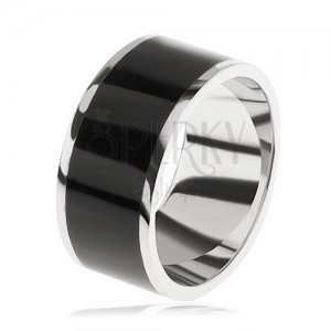 Fényes karikagyűrű 925 ezüstből, fekete díszített sáv a közepében