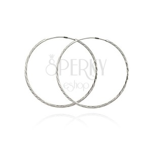925 ezüst fülbevaló, vékony karikák ferde bevágásokkal, 40 mm