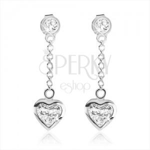 Beszúrós fülbevaló 925 ezüstből, szimmetrikus cirkóniás szív átlátszó színben