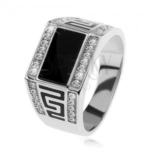 925 ezüst gyűrű, fekete téglalap, átlátszó csillogó kövek, görög kulcs