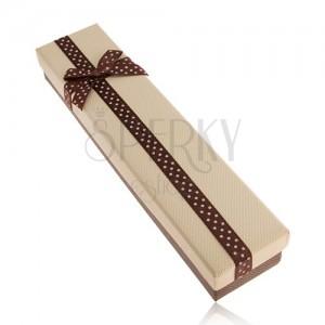 Ajándékdoboz nyakláncra barna és bézs színben, szalag pontokkal, masni