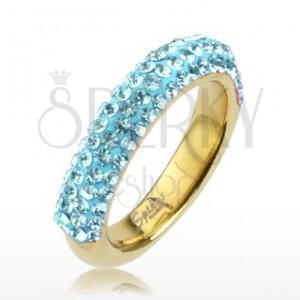 Gyűrű acélból arany színben, csillogó vonalak világoskék cirkóniákból
