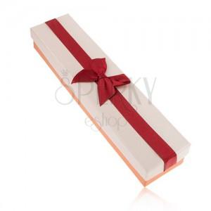Ajándékdoboz nyakláncra, narancs, bordó és bézs szín, masni