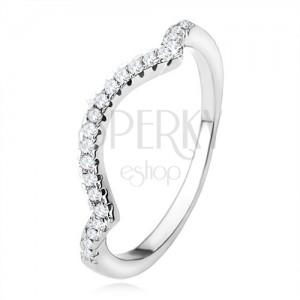 Gyűrű 925 ezüstből, csúcsos vonal, félhold, átlátszó csillogó kövek