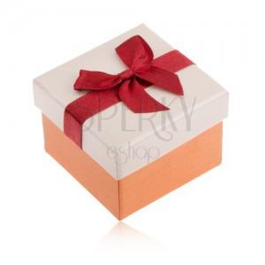 Ajándékdoboz gyűrűnek, narancs és bézs szín, bordó szalag, masni