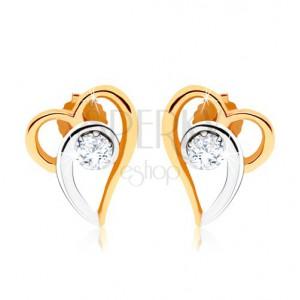 Kétszínű fülbevaló 375 aranyból, aszimmetrikus szív kontúr, átlátszó cirkónia