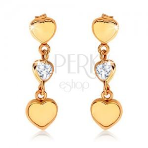 375 arany fülbevaló - három egyenletes szív egymás alá helyezve, cirkónia