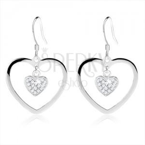 Fülbevaló 925 ezüstből, szívkörvonal kisebb cirkóniás szívvel