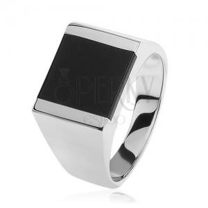 925 ezüst gyűrű, tükörfényű szárak, téglalap fekete fénymázzal