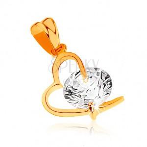 Medál 9K sárga aranyból - aszimmetrikus szívkörvonal, nagy átlátszó cirkónia
