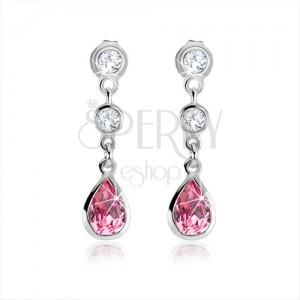 Beszúrós fülbevaló, rózsaszín cirkóniás csepp, átlátszó kövek, 925 ezüst