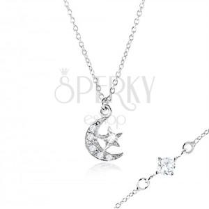 925 ezüst nyakék cirkóniákkal a szemecskék között, hold és csillag