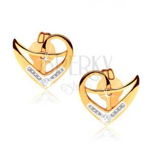 Beszúrós fülbevaló 9K aranyból, szabálytalan szívkörvonal, kétszínű