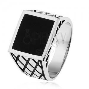 925 ezüst gyűrű, szárak rombusszal, fekete fénymázas négyzet