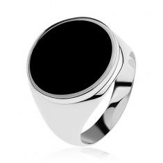Gyűrű 925 ezüstből fekete fénymázas körrel