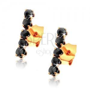 Fülbevaló 9K sárga aranyból - függőleges sáv kerek fekete zafírokból