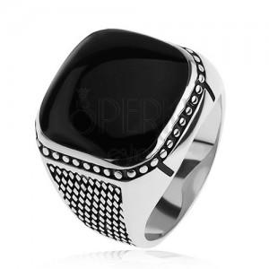 925 ezüst gyűrű, kicsi rombuszok, golyók, fekete kidomorodó négyzet