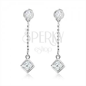925 ezüst fülbevalö átlátszó kövekkel és lánccal