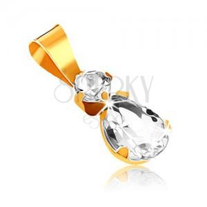 Medál 9K sárga aranyból - kerek átlátszó kő és cirkóniás könnycsepp