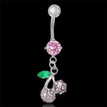 Köldök piercing - rózsaszín cseresznye, levél