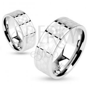 Gyűrű sebészeti acélból, matt-fényes sakktábla minta, 6 mm
