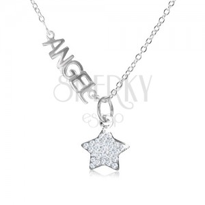 """Nyakék 925 ezüstből, """"ANGEL"""" felirat, csillag átlátszó cirkóniákból"""